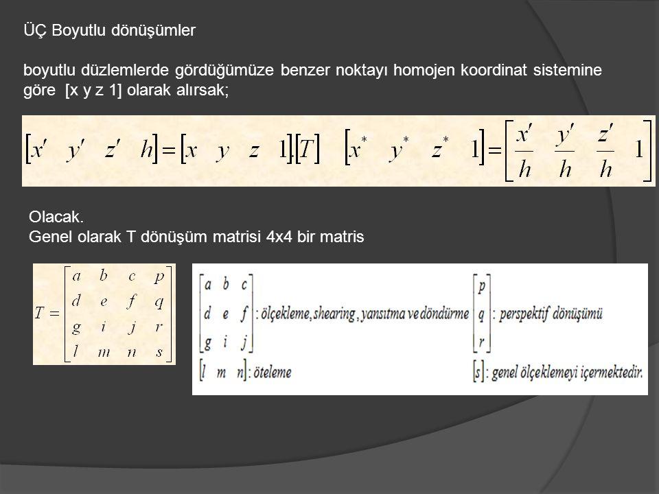 ÜÇ Boyutlu dönüşümler boyutlu düzlemlerde gördüğümüze benzer noktayı homojen koordinat sistemine göre [x y z 1] olarak alırsak;